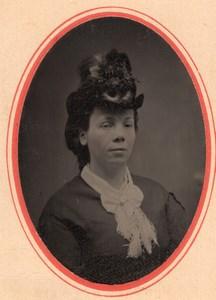 USA ? Portrait de Femme Beau Chapeau Ancien Ferrotype Tintype Photo 1880's