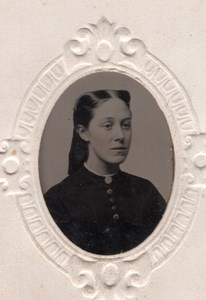 USA ? Petit Portrait de Femme Ancien Ferrotype Tintype Photo 1880's