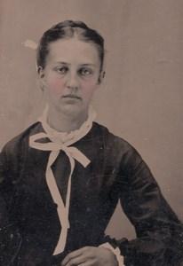 USA ? Portrait de Jeune Femme Ancien Ferrotype Tintype Photo 1880's