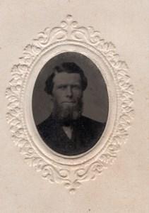 USA? Portrait Homme Barbu Ancien Ferrotype Tintype Miniature Photo 1880's
