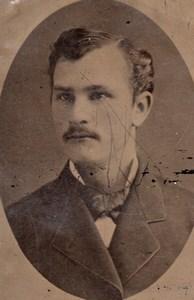 USA ? Portrait Homme Moustachu Ancien Ferrotype Tintype Photo 1880's