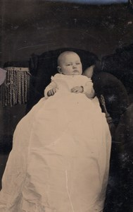USA ? Portrait Baby old Tintype Photo 1880's