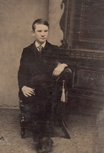 USA ? Portrait Garcon Adolescent assis Ancien Ferrotype Tintype Photo 1880's