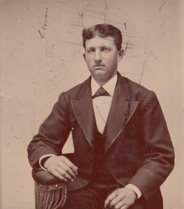 USA ? Portrait Homme Ancien Ferrotype Tintype Photo 1880's
