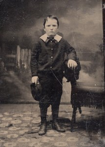 USA ? Portrait Jeune Garcon Ancien Ferrotype Tintype Photo 1880's