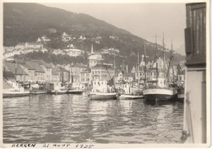 Bergen Harbour Boats Ships Norway old Photo 1935