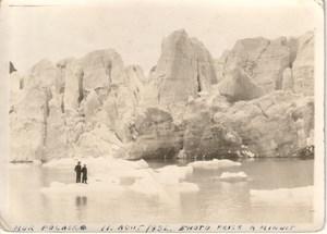 Men by Ice Barrier Midnight Sun Spitsbergen Photo 1936