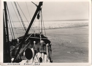 Ocean Liner by Ice Barrier Arctic Ocean Old Photo 1939