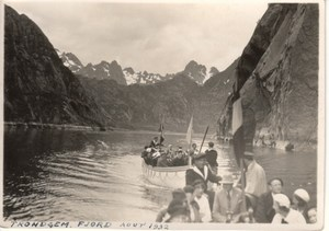 Tourist Group Troll Fjord Norway old Photo 1932