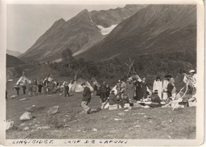 Lyngseidet Tourists in Lapp camp Norway old Photo 1930s