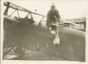 Airmail test bag dropped from airplane 1920