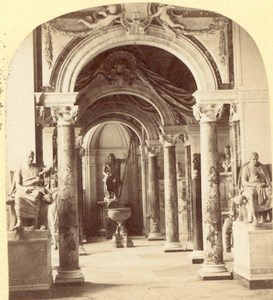 Statue Gallery Vatican Italy stereoview Photograph 1865