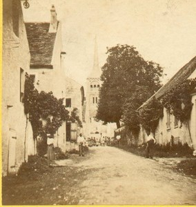 French Village Animated Street Scene old Stereoview Photo 1860