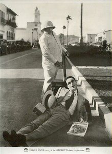 Harold Lloyd lying in street magazine old Cinema Lobby Photo 1920's