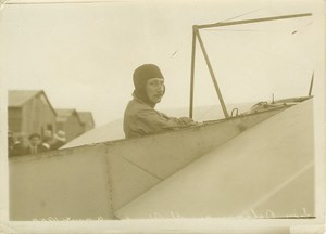 Leon Delagrange in Bleriot Airplane Aviation 1910 Photo