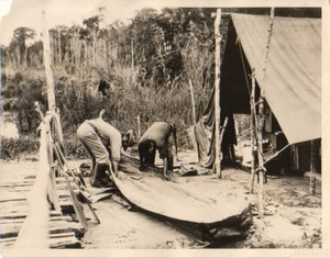 Rio Roosevelt Men Assembling Canvas Boats Photo 1927