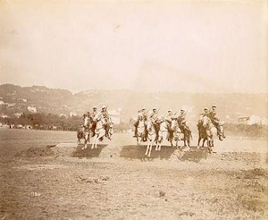 Military cavalry action scene old Photo 1890
