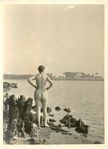 Nude girl standing beach Risque Photo Photograph 1910