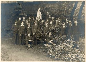 Young men group in church garden Photo 1930