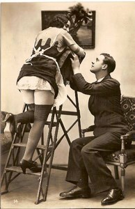 Sexy Maid & Man French Risque old Photo 1920