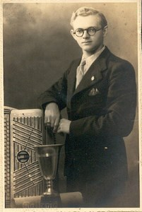 Young man & accordion music old Photo c1930