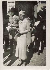 French Fashion Woman Tongue sticking out old Photo 1930