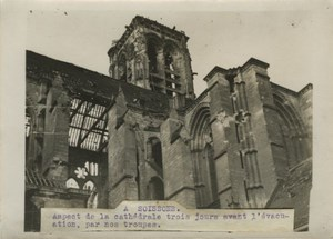 Soissons Cathedral Ruins WWI WW1 old Photo 1914-1918