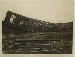 Blown up Railway Bridge WWI WW1 old Photo 1917