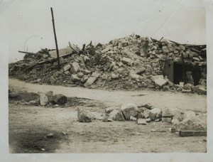 Blown up Church Ruins WWI WW1 Old Photo 1917