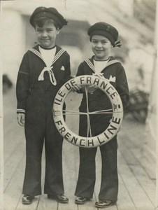 Charlie Chaplin Son Ocean Liner Ile de France old Photo