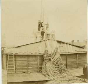 Balloon crash in Fairground building in Moscow old Photo Lot 1900