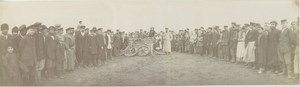 Aeronaut Balloon basket after landing Russia Old Panoramic Photo 1909