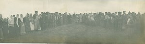 Crowd around Balloon after landing Russia Old Panoramic Photo 1909