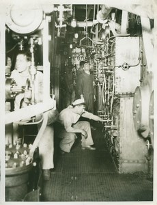 British Battleship Interior Boiler Room WWI WW1 Photo