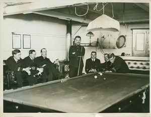 British Battleship Interior Billiard Room WWI WW1 Photo