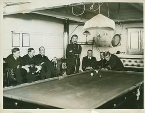 British Battleship Interior Billiard Room WWI WW1 Photo