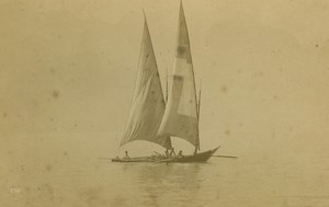 Geneva Lake Sailboat Lac Leman old Photo 1880