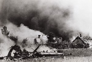 WWII Russia Burning Buildings Bomber WW2 Photo 1941