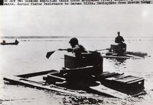 WWII Russian Amphibian Tanks In River WW2 Photo 1941