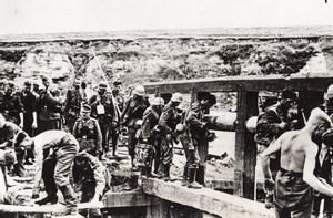 WWII Nazi Labor Troops Building Bridge WW2 Photo 1941