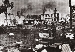 WWII Furniture German Soldier Fire Blaze WW2 Photo 1941