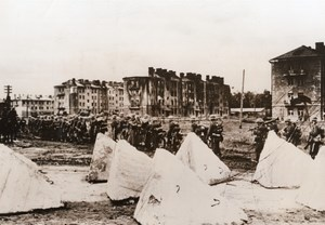 WWII Germans Marching Town Ruins Russia WW2 Photo 1941