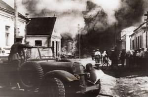 WWII German Blitzers Blazing Town Russia WW2 Photo 1941