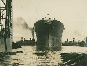 USS Lexington Aircraft Carrier Launch old Photo 1925