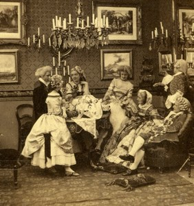 Humoristic scene in XVIIIth century costumes Scene de Genre Photo 1860