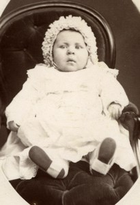 France Young Baby in chair old CDV Photo 1900