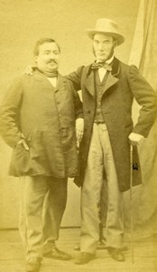 France Paris 2 Men Posing Friendship old Noury CDV Photo 1860's