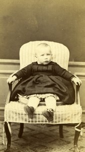 Young baby seated big chair old Photo 1860
