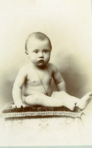 France Bordeaux Young baby sitting on pillow old Berard CDV Photo 1900