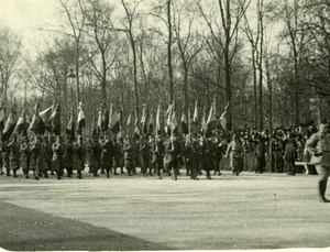 France WWI Military parade French Army Flags old Photo 1914-1918